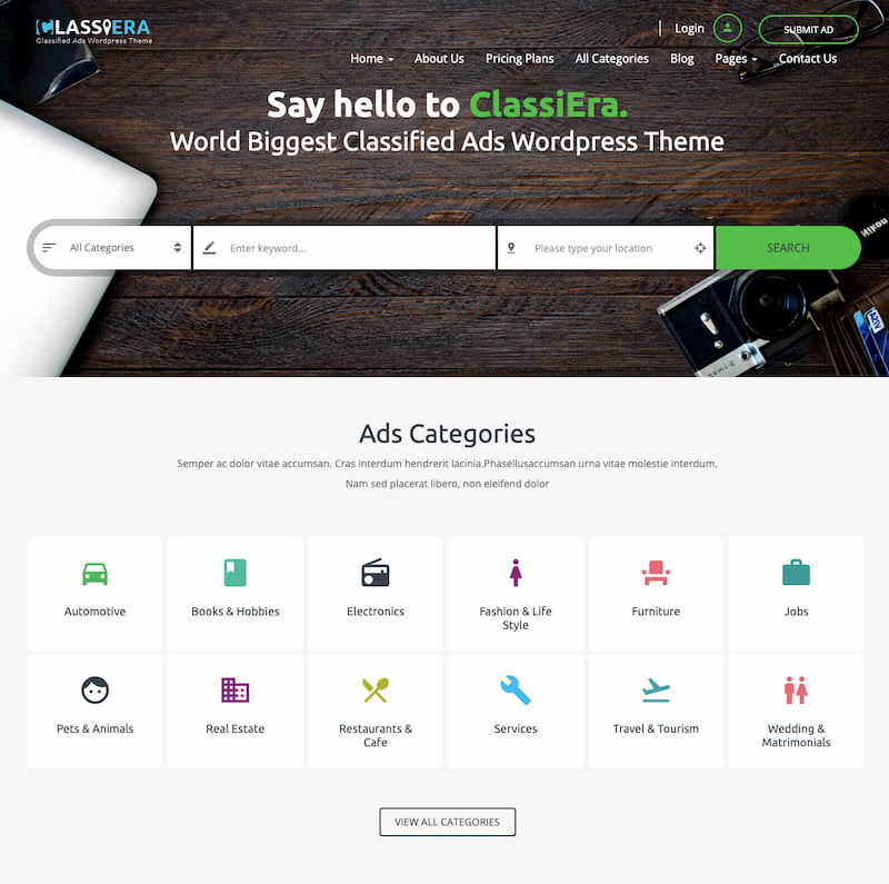 Classiera wordpress theme demo with advertising space