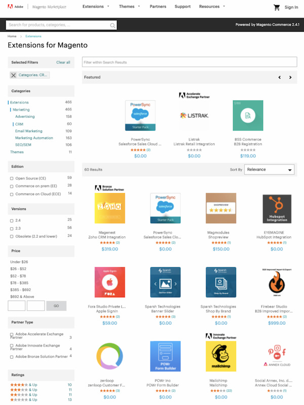 CRM apps from Magento Extension marketplace
