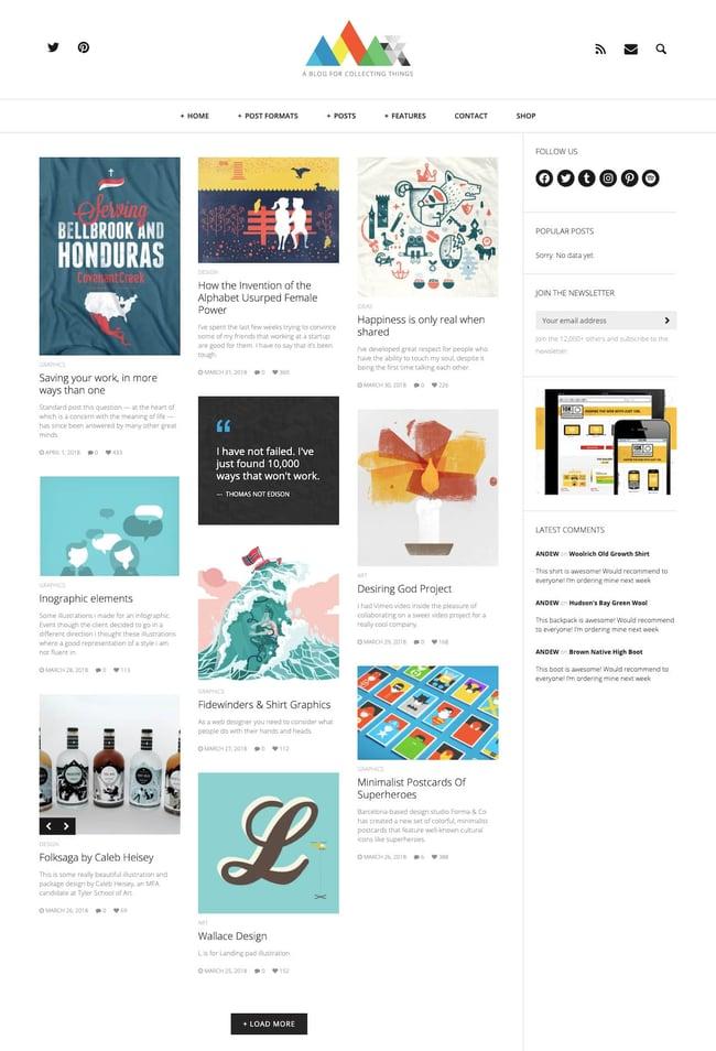 best Pinterest-style WordPress theme: Heap