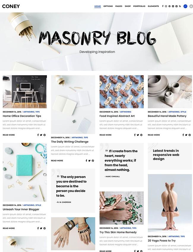 best Pinterest-style WordPress theme: Coney