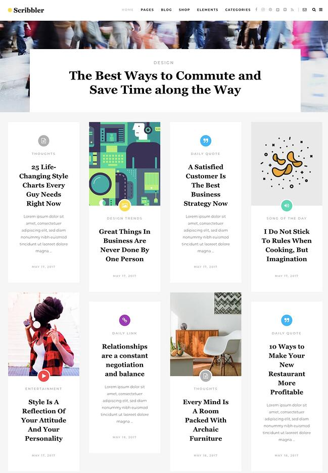 best pinterest-style wordpress theme: Scribbler
