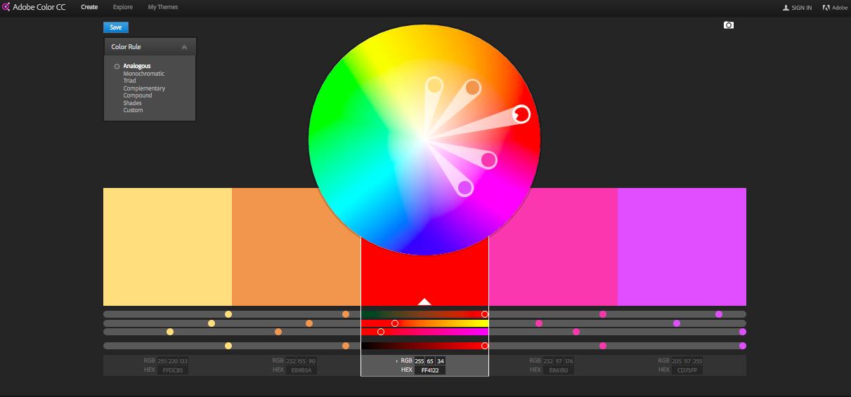 Color wheel on dashboard of Adobe Color