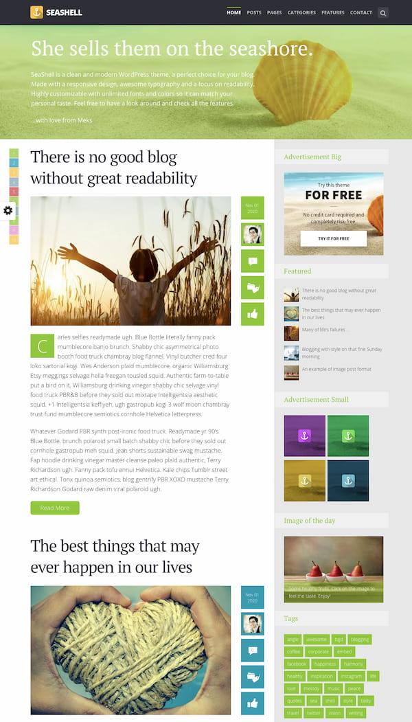 SeaShell WordPress theme demo with advertising space
