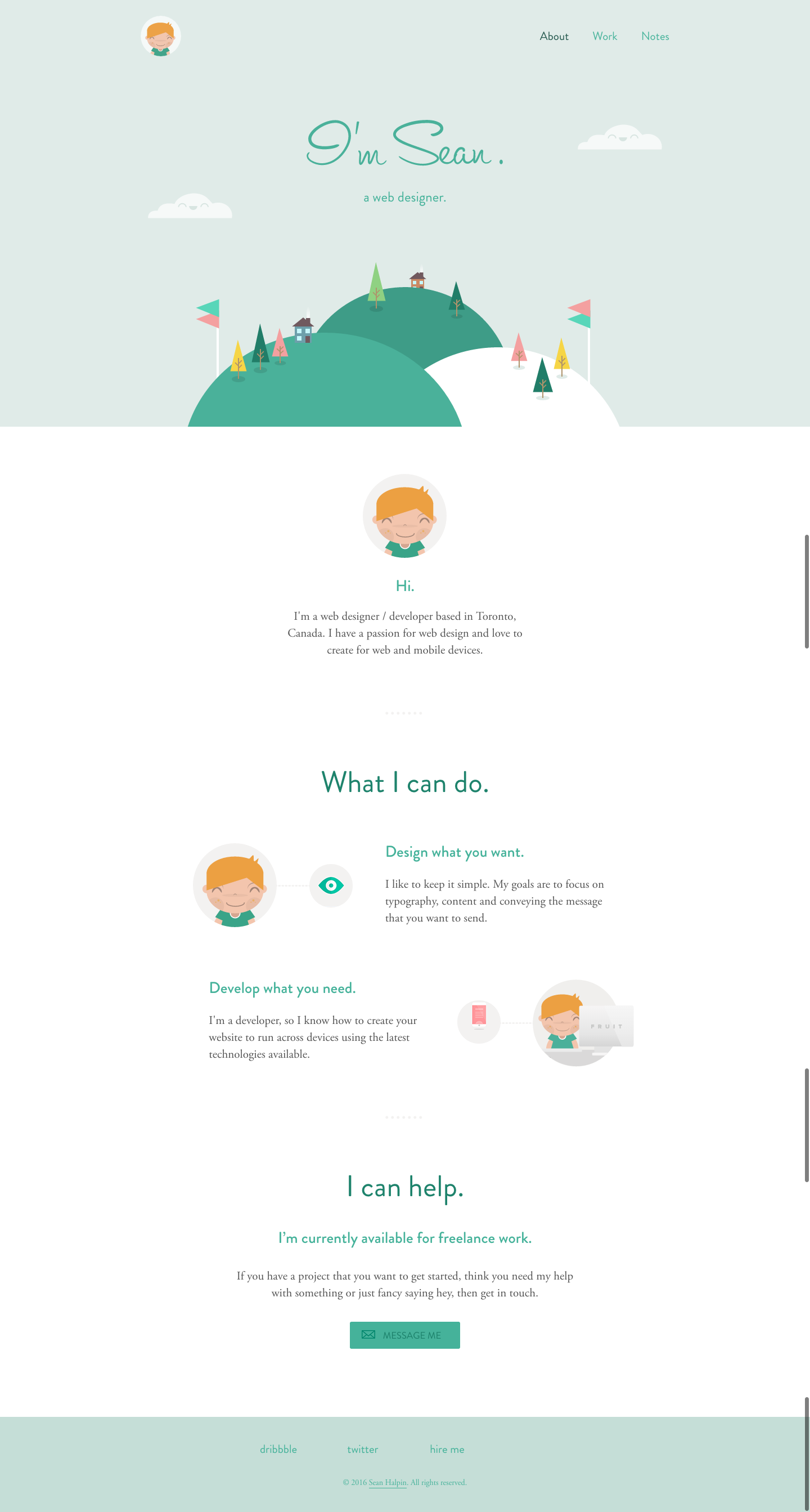 Personal website of web designer Sean Halpin with soft white and green colors and personal avatar