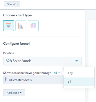 Select all stages on the funnel report as described in-text