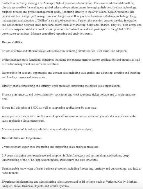Senior Sales Operations Manager Job Description