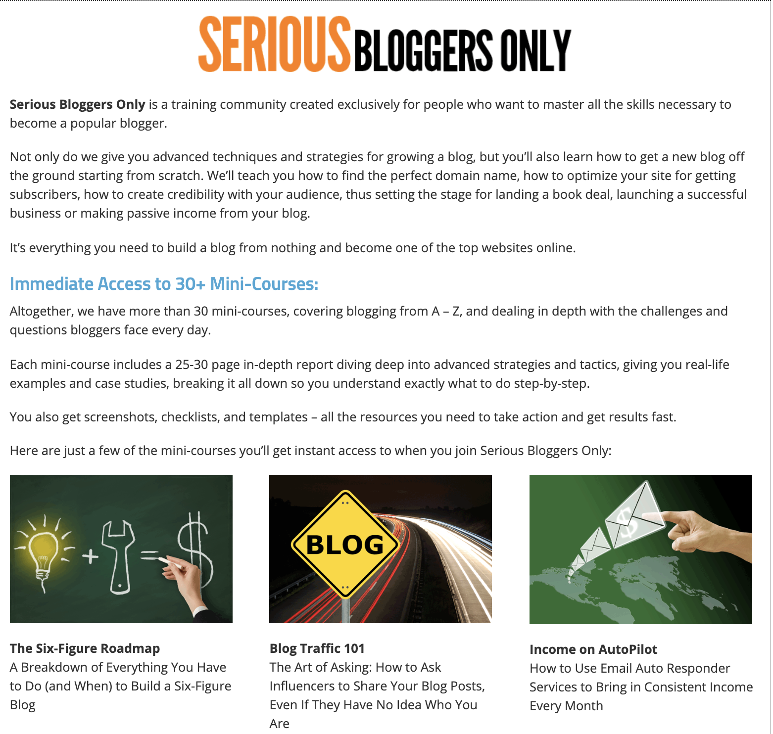 Serious Bloggers Only example to create membership site using WordPress