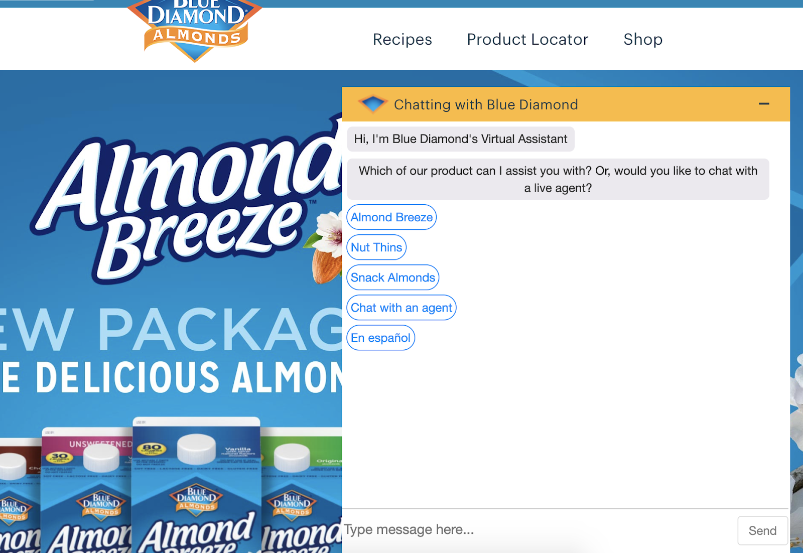 example of almond breeze chatbots for web based self service