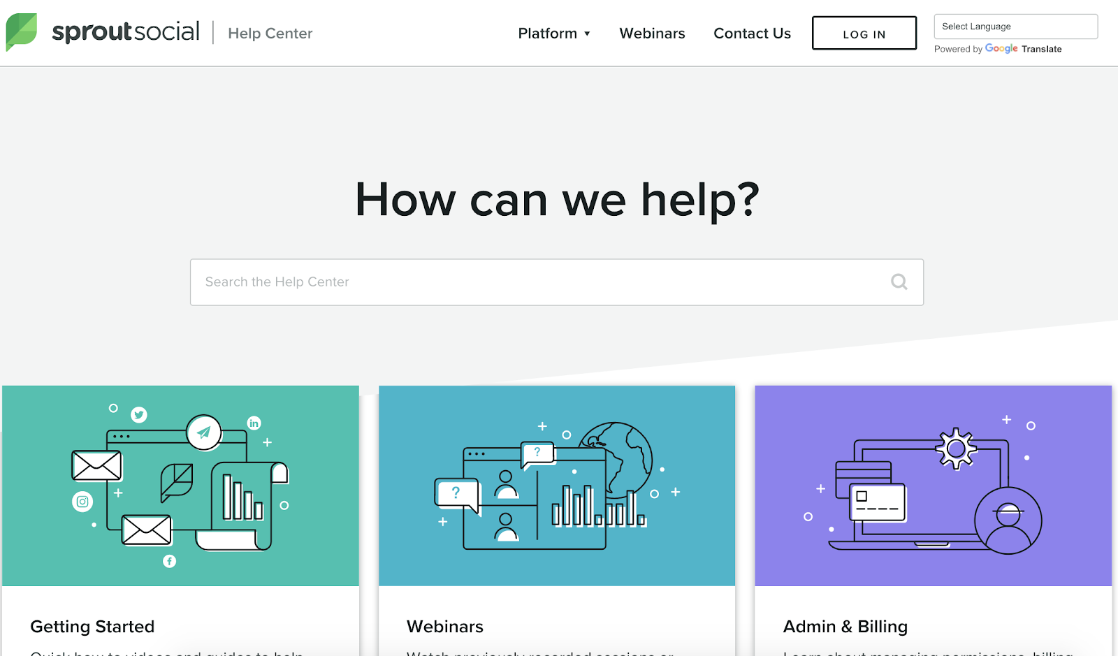example of web self service help center on sprout social website