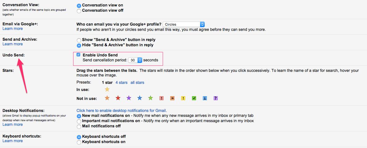 Gmail Undo Send Settings Screen