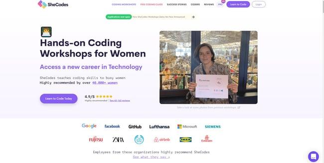 best online coding bootcamp: SheCodes