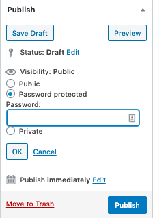 Setting WordPress post to password protected in editor interface