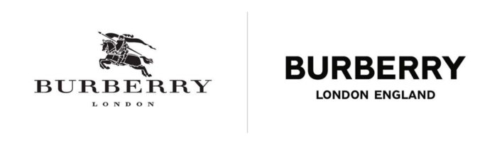 Side by side comparison of Burberrys old and new logo, which uses all caps sans serif font
