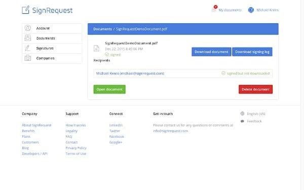SignRequest eSignature platform