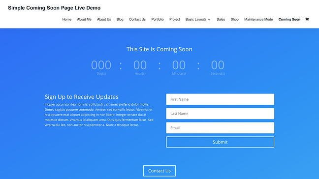 Simple Coming Soon template available with Divi Theme