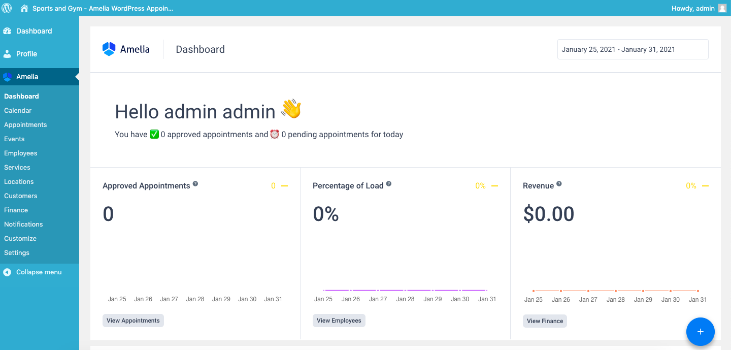 Site admin viewing appointments and statistics in dashboard via Amelia