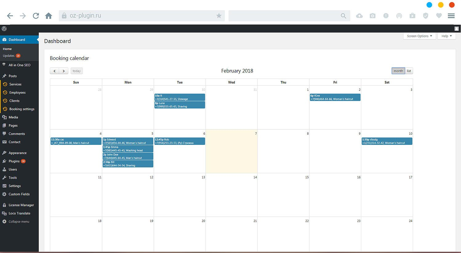 Site admin viewing booking calendar in dashboard via Book Appoinment Online PRO