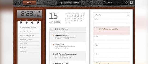 A calendar app uses skeuomorphism design.