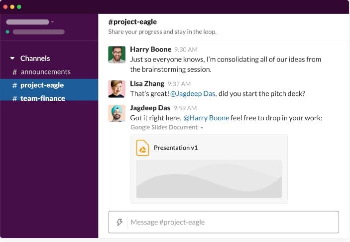 Slack messaging software