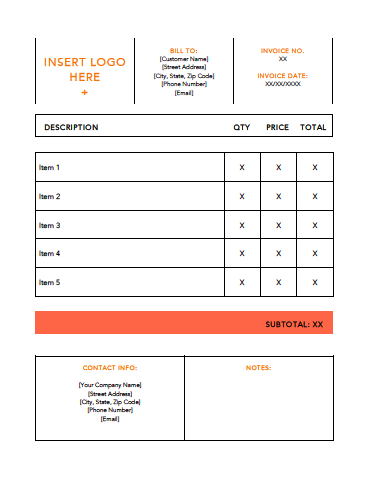 Invoice Template Example  10 Free Templates Every Small Business Needs in 2018 Small 20Orange 20Invoice 20Template 20Example