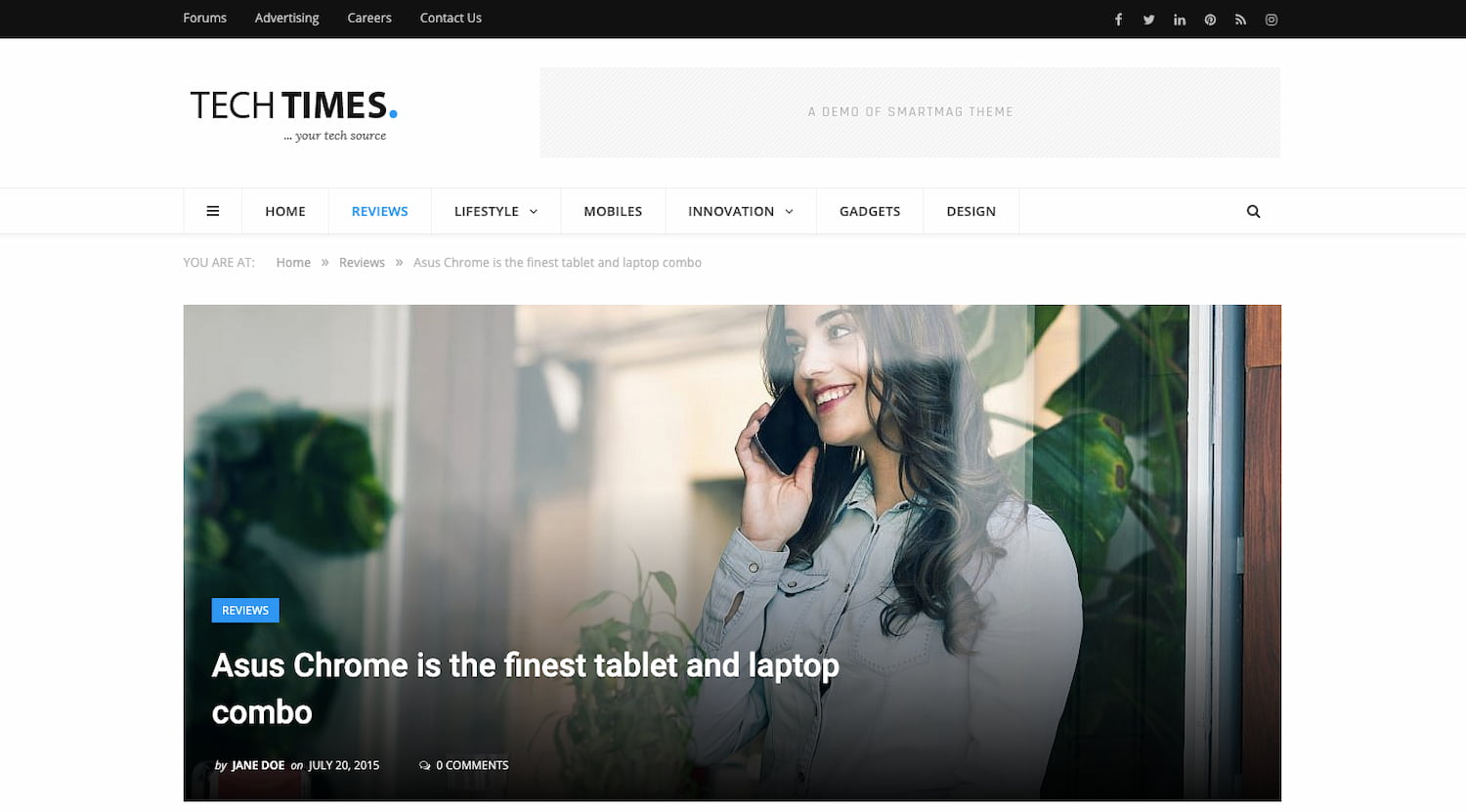 SmartMags Tech Times theme demo includes product reviews