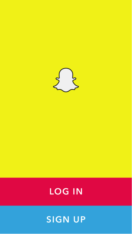 Yellow Snapchat home screen to log in or sign up