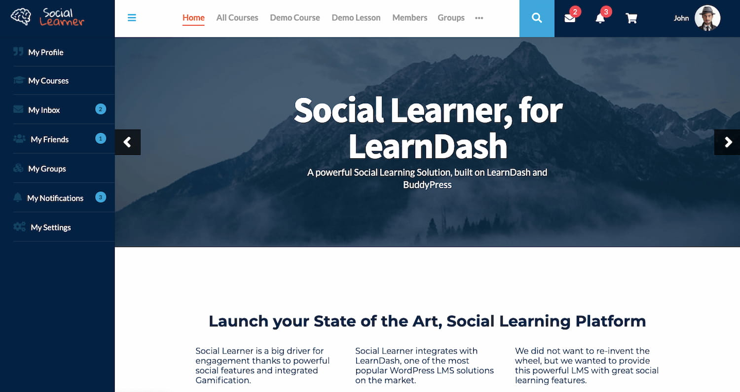 Social Learner theme demo shows a learning community website built with BuddyPress and LearnDash