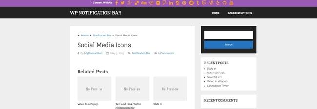Social media icons bar via WP Notification Bar Pro plugin