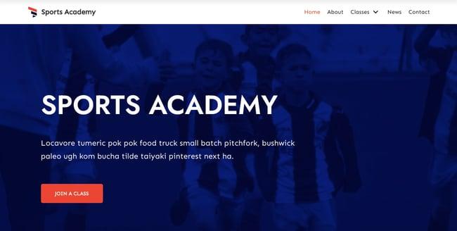 Sport Academy demo of WordPress theme Neve has smooth parallax scrolling