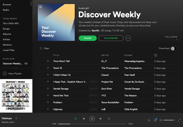 Spotify Discover Weekly personalized listening experience
