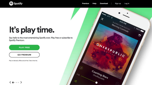 "Spotify subheading embraces personality with phrases like ""Say hi."""