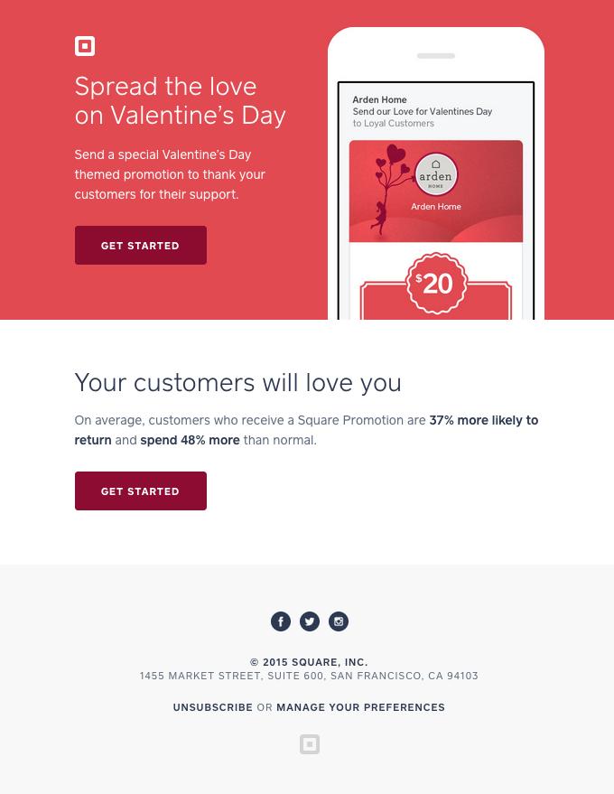Square Valentines Email lead nurturing example