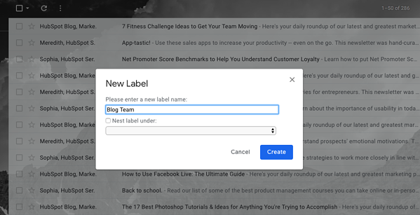 Creating labels for email types