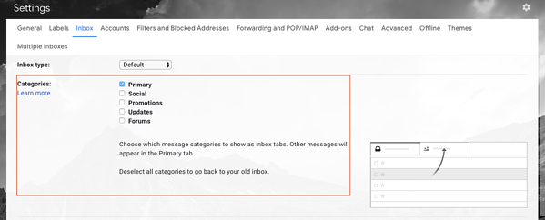 Labeling your categories in Gmail
