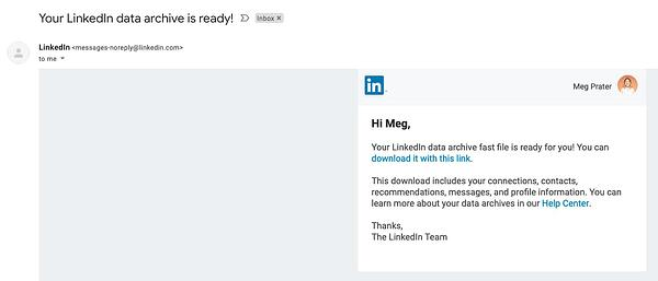 email LinkedIn contacts in Gmail