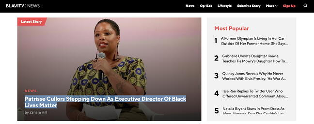 Sticky horizontal navigation bar on Blavity offers an example of a website design best practice