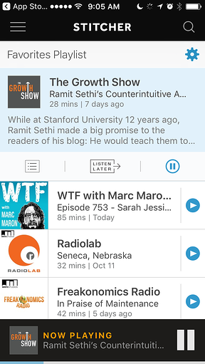 Stitcher mobile app for listening to a podcast or audiobook