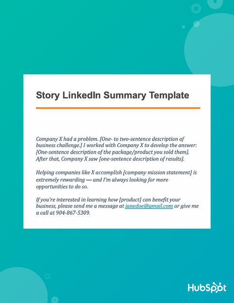 Download the story LinkedIn Summary Template