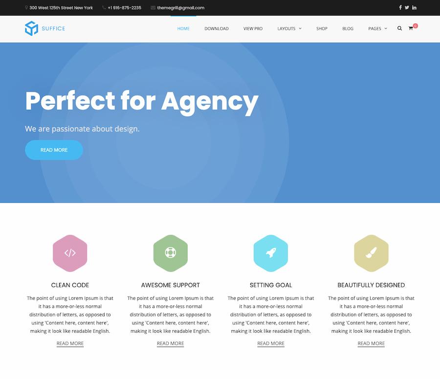Suffice theme demo displays minimalist agency homepage-1
