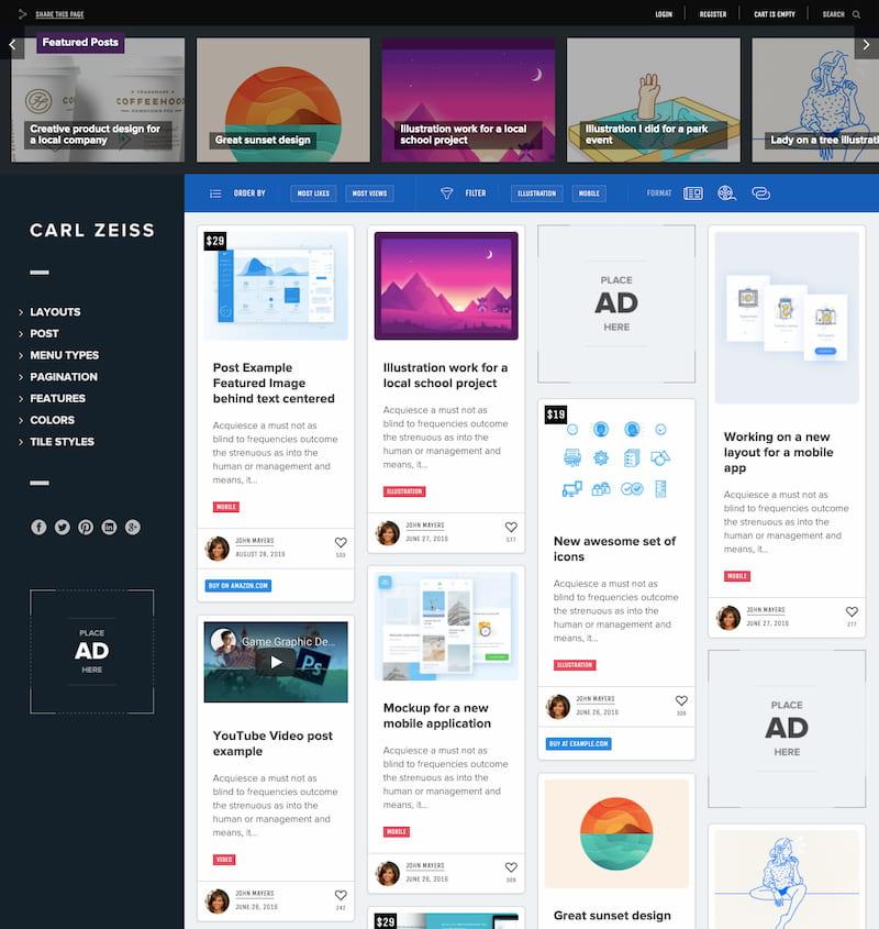 Sun WordPress theme demo with vertical navbar and masonry grid