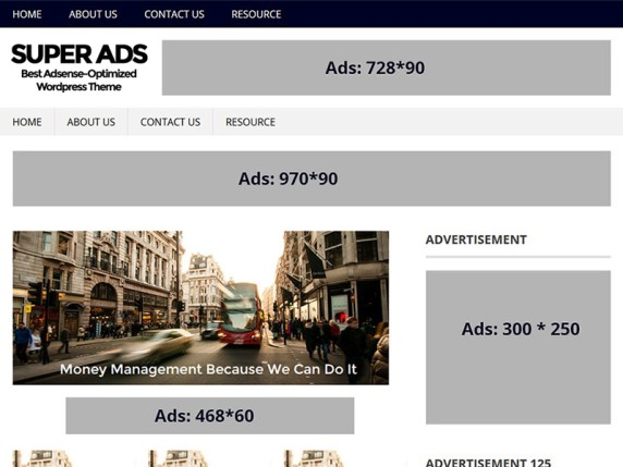 SuperAds WordPress theme demo with multiple advertising spaces