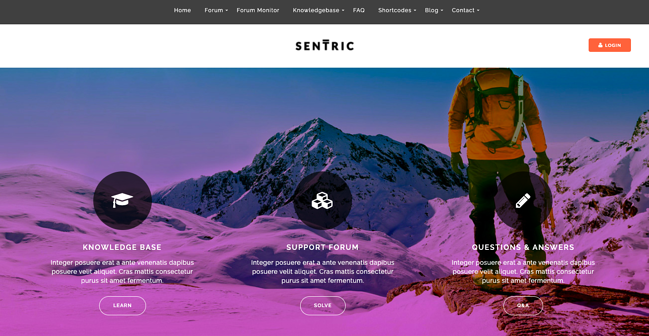 Support forum with Knowledge Base articles and FAQs created with Sentric theme for WordPress