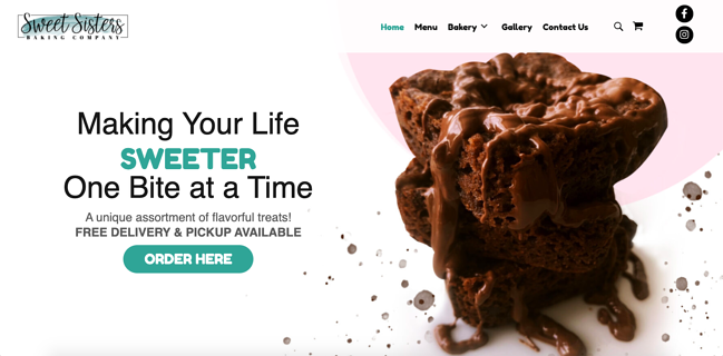 Sweet Sisters Baking Company is a Godaddy website builder example