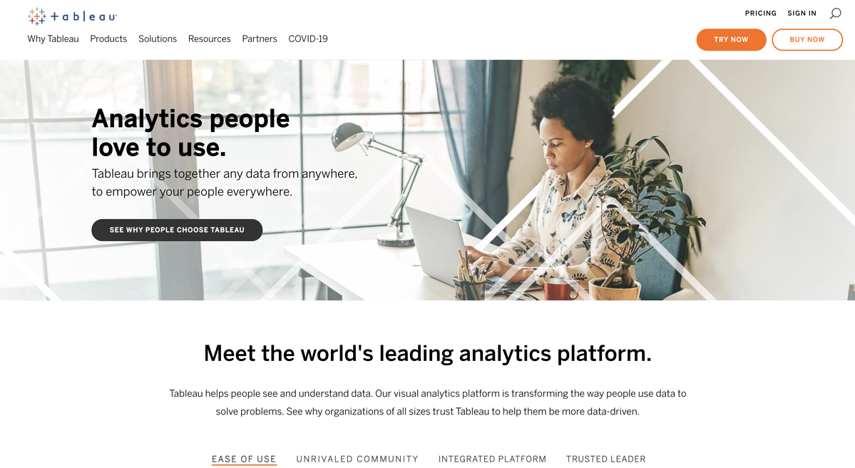 Tableaus homepage showing Business Intelligence options
