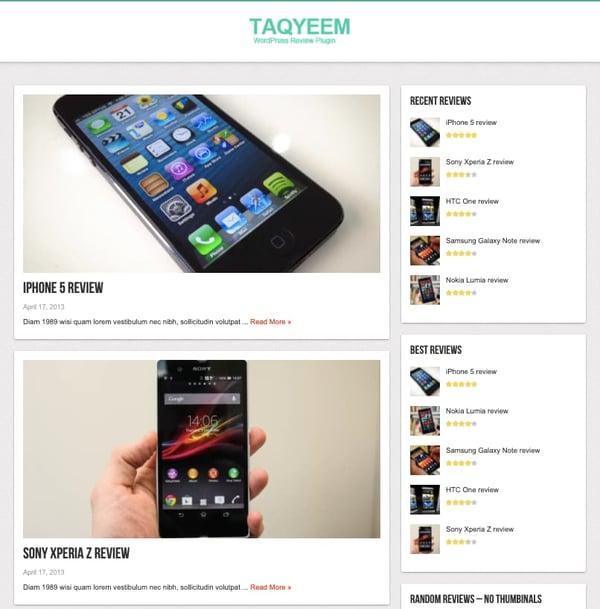 Taqyeem WordPress review plugin demo includes reviews in posts and sidebar