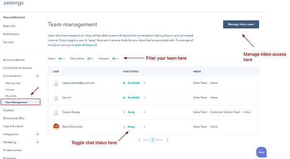 Team Management view under Conversations with arrows pointing to items with the arrows labeled Manage inbox users, Filter your team here, and Toggle chat status here.