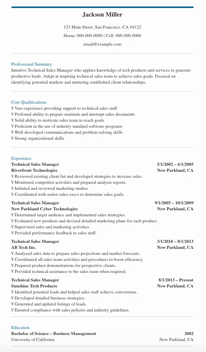 Technical Sales Manager Resume Sample