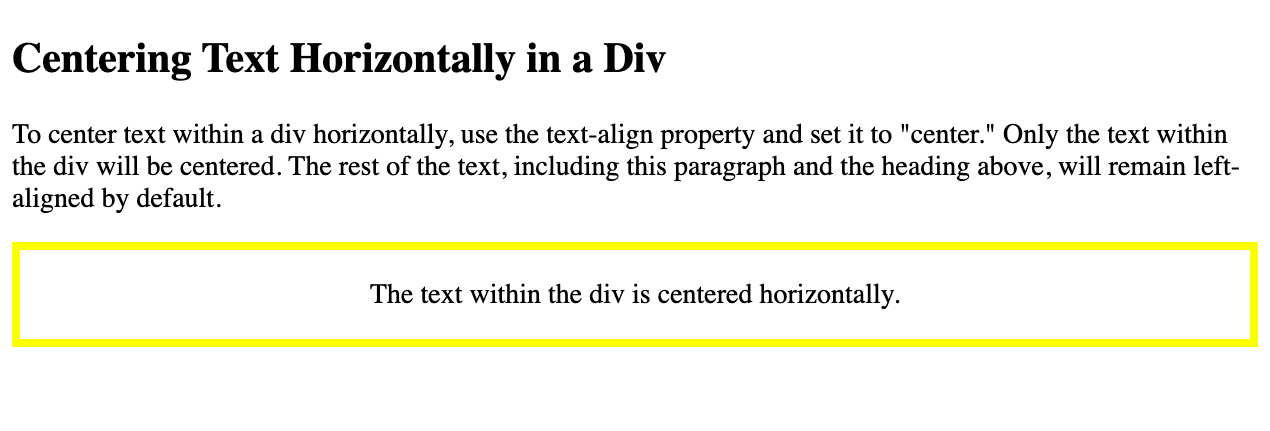 Text in a div is centered horizontally using the text-align property in CSS-1