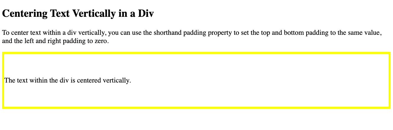 Text in a div is centered vertically using the padding property in CSS