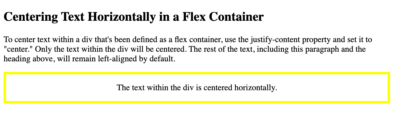 Text in a flex container is centered horizontally using the justify-content property in CSS-1